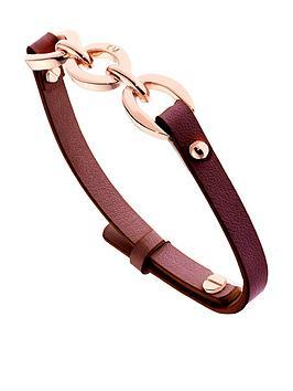 karen-millen-chain-link-leather-bracelet-rose-gold