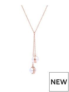 karen-millen-logo-pearl-double-drop-necklace-rose-gold
