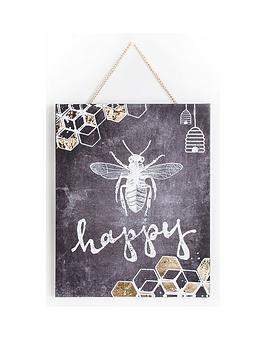 graham-brown-chalkboard-bee-happy-canvas-wall-art