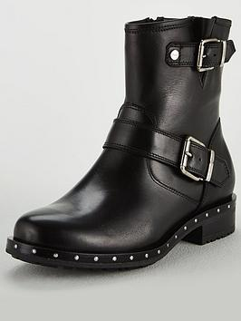 Dune London Biker Studded Rand Biker Boot - Black