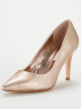 Dune London Anaconda Leather Mid Heel Court Shoe - Rose Gold