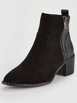 Head Over Heels Patricia Block Heel Ankle Boot - Black