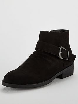 Head Over Heels Pauline Buckle Ankle Boot - Black