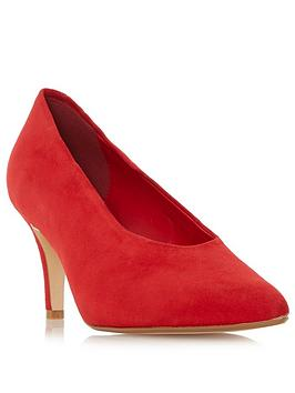 Dune London Ari High Vamp Court Shoe - Red