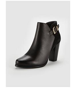 Dune London Dune Oleria Block Heel Mix Material Dressy Ankle Boot