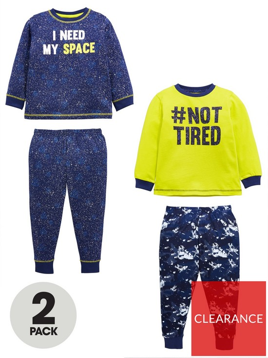 2434ba3ba80a Mini V by Very Boys Pack of 2 I Need Space  NOT TIRED Pyjama Set ...