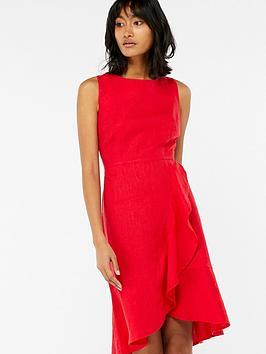 monsoon-whitney-linen-frill-dress-red