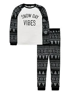 v-by-very-snow-day-vibes-christmas-fleece-pyjamas-whiteblack