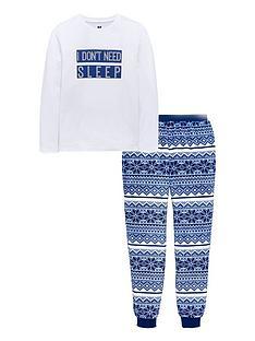 v-by-very-boys-i-dont-need-sleep-fairisle-fleece-boys-pyjama-set-multi