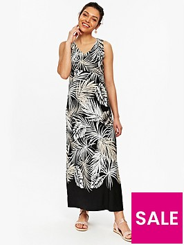 wallis-petite-palm-maxi-dress-printed