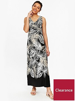 wallis-petite-palm-maxi-dress-printed