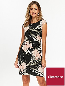 wallis-petite-lilly-ruched-side-dress-printed