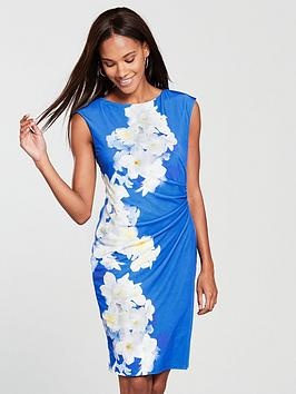wallis-floral-ruched-side-wrap-dress-print