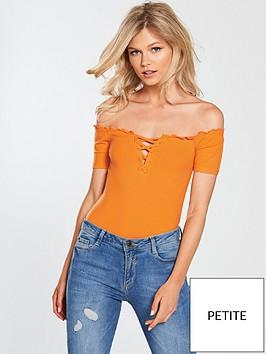 miss-selfridge-petite-bardot-lattice-tie-front-body-orange