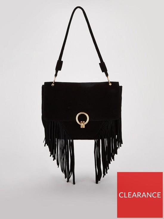 Michelle Keegan Suede Tassel Bag - Black  056713f4e15b