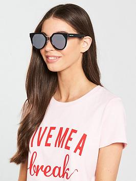 Mcq Alexander Mcqueen Oval Angular Sunglasses - Black