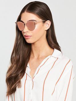 Mcq Alexander Mcqueen Brow Detail Cat Eye Sunglasses - Gold/Pink