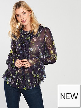 v-by-very-ruffle-front-blouse-navy-floral