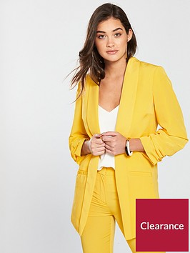 v-by-very-ruched-sleeve-blazer-ochre