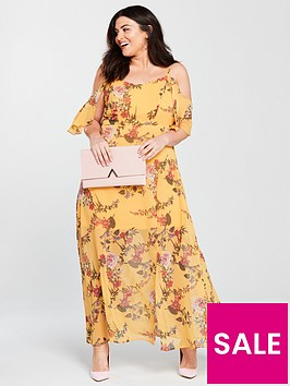 v-by-very-curve-cold-shoulder-maxi-dress-yellow-print