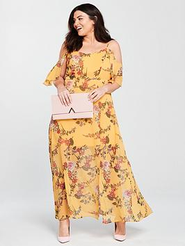 v by very curve cold shoulder maxi dress - yellow print