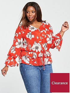 v-by-very-curve-printed-gathered-waist-blouse-orange-floral