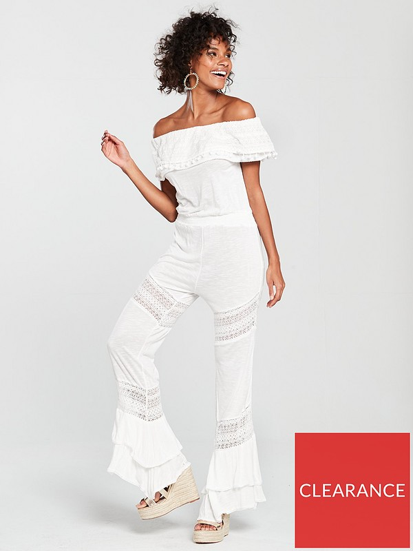 d49622505f River Island Jersey Frill Beach Jumpsuit - White | very.co.uk