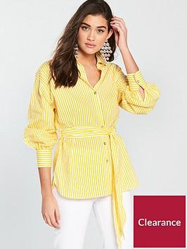 river-island-river-island-tie-waist-stripe-shirt--yellow