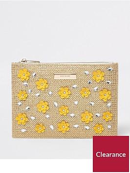 river-island-3d-flower-pouch-gold