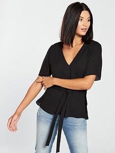 v-by-very-tie-front-top-black