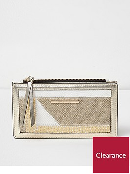 river-island-cutabout-slim-foldout-purse-gold