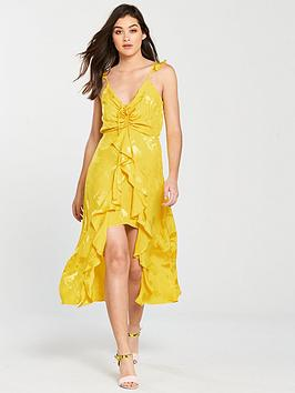river-island-ruched-detail-jacquard-slip-dress-bright-yellow