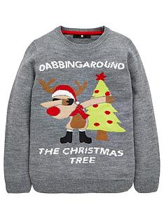 v-by-very-boys-dabbing-around-the-christmas-tree-knitted-jumper-grey