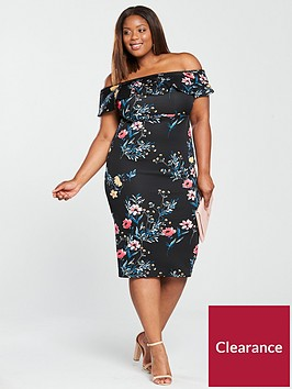 v-by-very-curve-ruffle-bardot-bodycon-dress-print