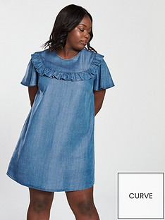 v-by-very-curve-tencel-ruffle-detail-dress-blue
