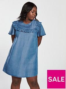v-by-very-curve-tencel-ruffle-detail-dress-blue