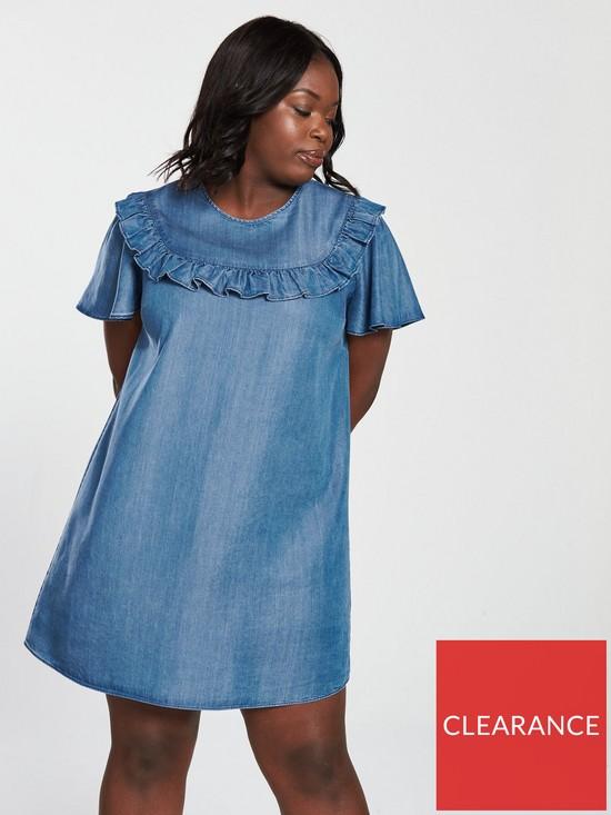 f7c686e06416 V by Very Curve Tencel Ruffle Detail Dress - Blue