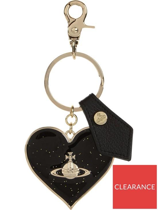052b4511d6d VIVIENNE WESTWOOD Mirror Heart Orb Keyring - Black | very.co.uk