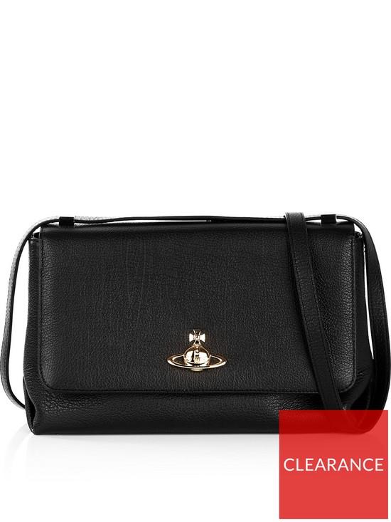 e61a31d7fe VIVIENNE WESTWOOD Balmoral Large Flap Shoulder Bag - Black | very.co.uk