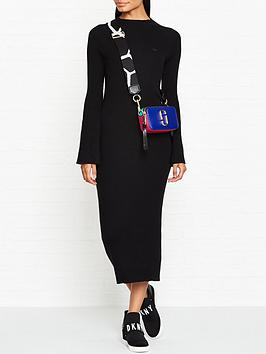 lacoste-live-ribbed-fluted-sleeve-midi-dressnbsp--black