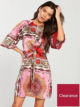 ax-paris-knot-front-scarf-print-silky-mini-dressnbsp-pink
