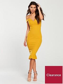 ax-paris-strappy-off-the-shoulder-frill-hem-dress-mustard