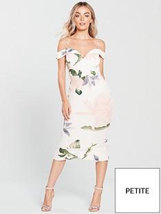ax-paris-ax-paris-petite-strappy-bardot-printed-frill-hem-midi-dress