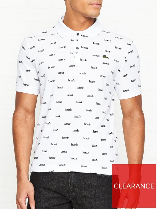 c37b9b5bebc LACOSTE LIVE All Over Print Polo Shirt - White
