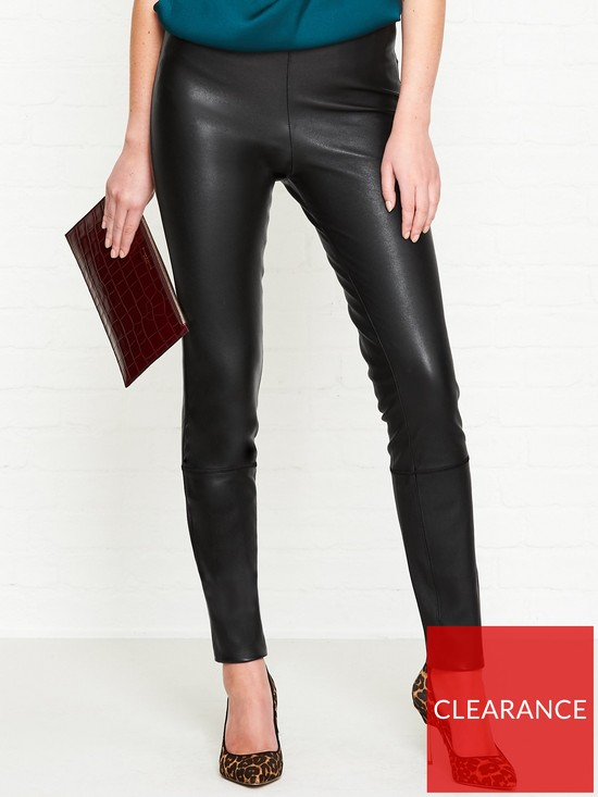 22f6af31a29 BY MALENE BIRGER Elenasoi Stitch Detail Leather Leggings - Black ...