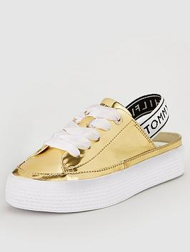 tommy-hilfiger-mirror-metal-slingback-trainer-gold