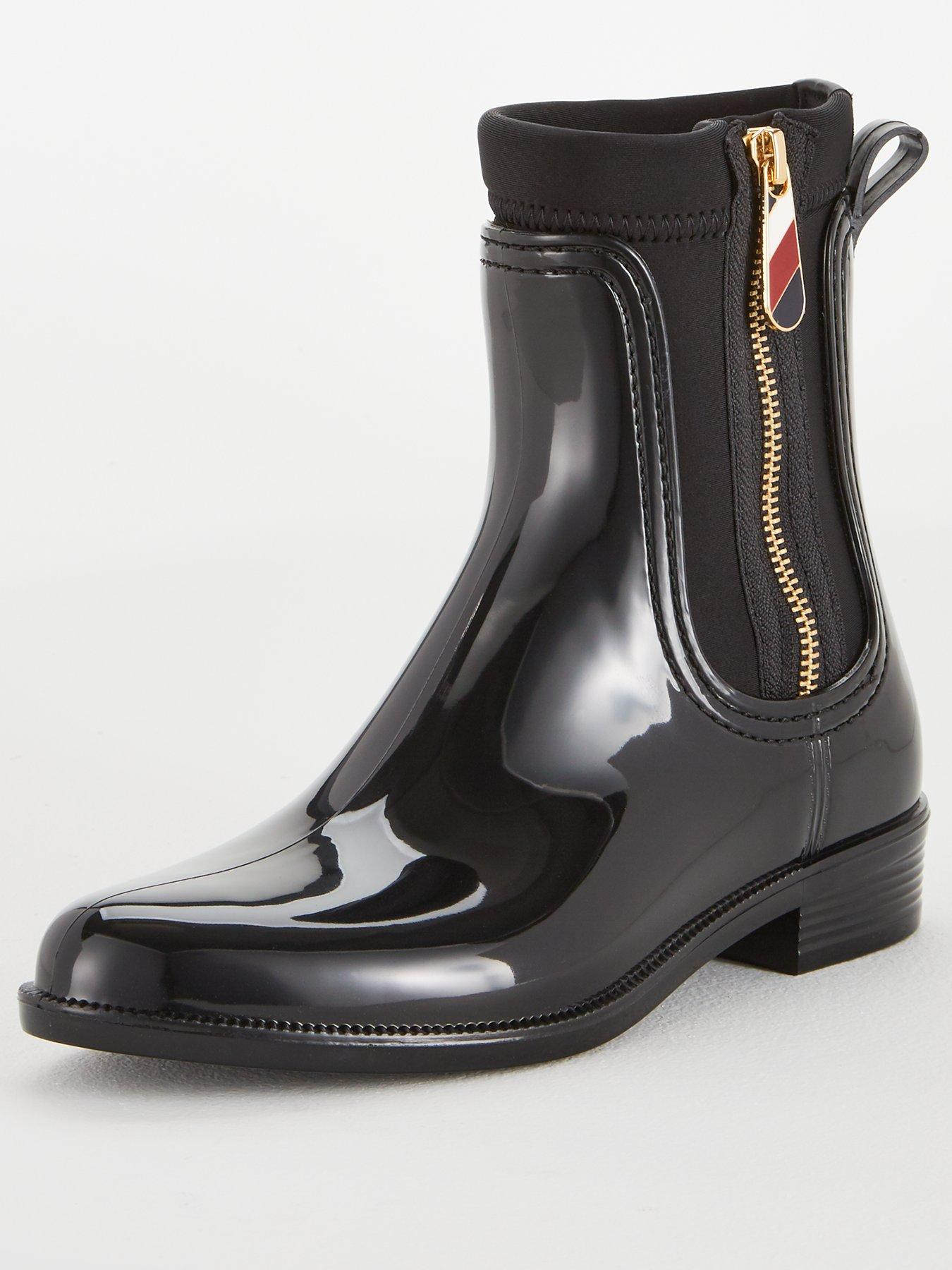 tommy hilfiger gloss ankle rain boots black very co uk  tommy hilfiger gloss ankle rain boots black