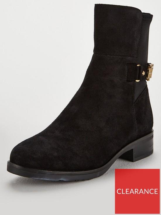 c837b9ec9851 Tommy Hilfiger Buckle Ankle Suede Boots - Black