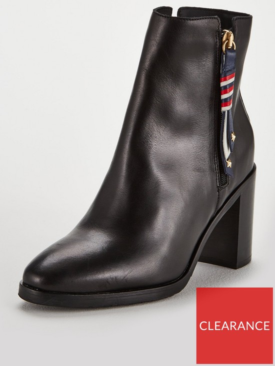 ca096e47f2227 Tommy Hilfiger Corporate Tassel Mid Heeled Ankle Boots - Black ...