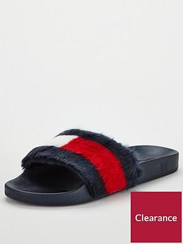 tommy-hilfiger-faux-fur-pool-slide-sandals-multi